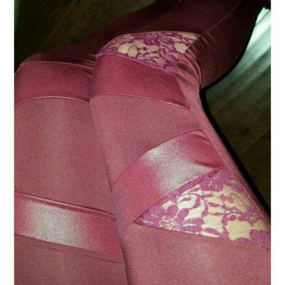 Lace wet look leggings BEST SELLER!! Bring a little bit of edge into your outfit with these leggings. Features lace detailing and wet look/l?me detailing in beautiful burgundy color. Size X-Large. This style also available in other colors Pants Leggings