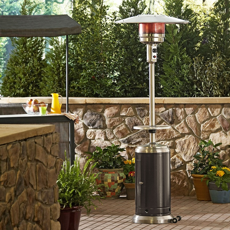Be prepared for cool nights with this propane patio heater.  Cool!  And I absolutely LOVE the stone wall in the background!!!  Dont' you?!