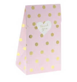 Simple and stylish pink party treat bags with gold polkadots by Sambellina!    Made with premium glossy thick paper, these gorgeous lolly bags are perfect for lolly bars and party/wedding favours and treats.   Little Boo-Teek - Shop Sambellina Online | Paper Lolly Bags | Designer Party Supplies Online