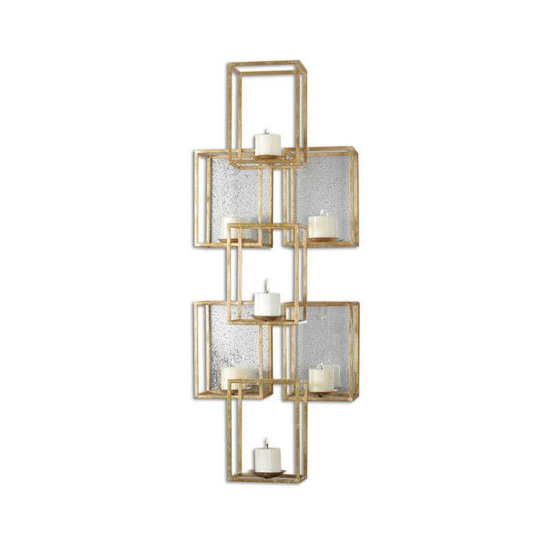 Uttermost Ronana Gold Mirrored Wall Sconce ($436) ❤ liked on Polyvore featuring home, lighting, wall lights, gold sconces, mirrored sconces, mirrored lamps, uttermost lighting and gold wall lights