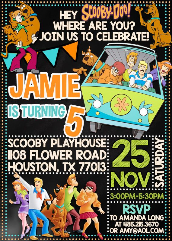 Scooby Doo Birthday Invitation Scooby Doo by PrintableETC on Etsy