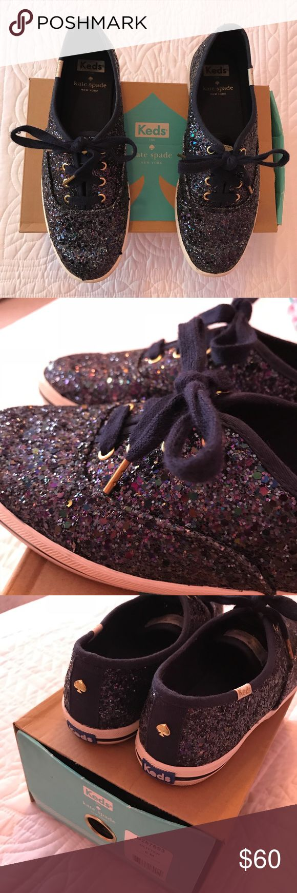 Kate Spade Navy blue glitter Keds sneakers Kate Spade Navy blue glitter Keds sneakers worn once looks new comes with navy blue silk laces too kate spade Shoes Sneakers