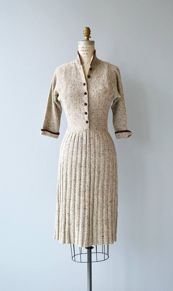 Vintage 1950s Speckled Soft Boucle Wool Knit Dress With Dark Brown Trim Button Bodice 3 4 Sleeves Fitted Wool Knitted Dress Vintage Dresses Vintage Fashion