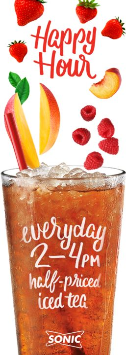 Sip in the last days of summer with thousands of refreshing Iced Tea combos your heart (and taste buds) desire!  All teas, drinks, and Slushes are half-price during SONIC Happy Hour from 2-4pm. Hours vary by location. See menu for details. Add-ins cost extra.
