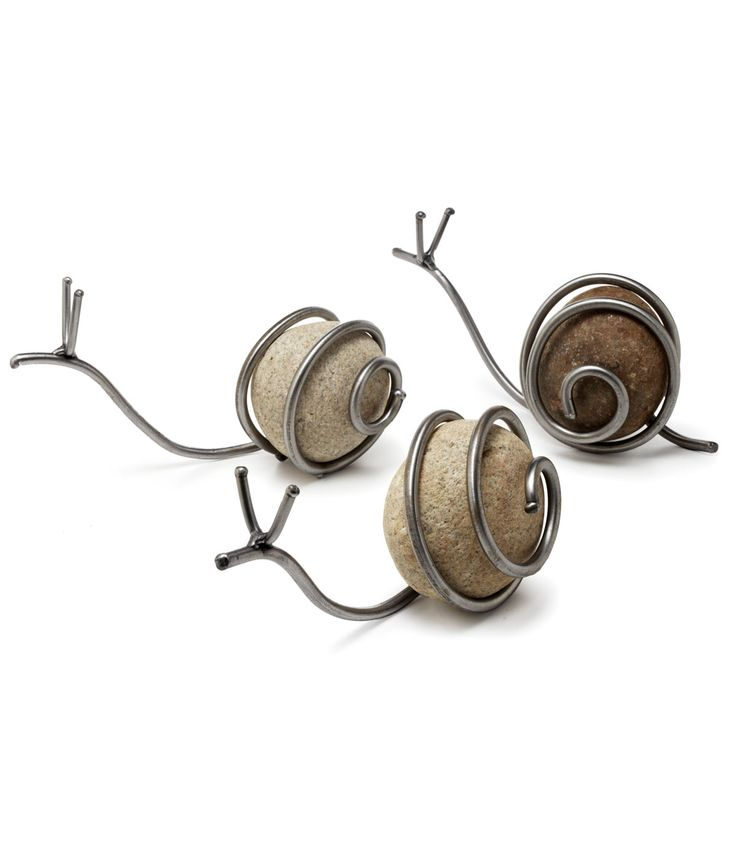 garden snails made from rock or marbles wrapped in wire.