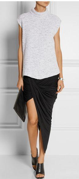HELMUT LANG Asymmetric draped stretch-jersey skirt