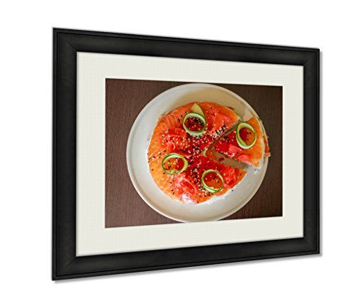 Ashley Framed Prints, Salmon Sushi Cake With Nigiri Soy Sauce Cucumber Salmon Avocado Caviar Nori Wall Art Decor Giclee Photo Print In Black Wood Frame, Soft White Matte, Ready to hang, 20x25 Art -- Learn more by visiting the image link.(It is Amazon affiliate link) #AsianFoods