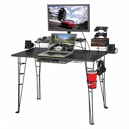 K&N- Ultimate Black Gaming Desk Computer Table Home Office Storage Furniture New #KandN #Modern