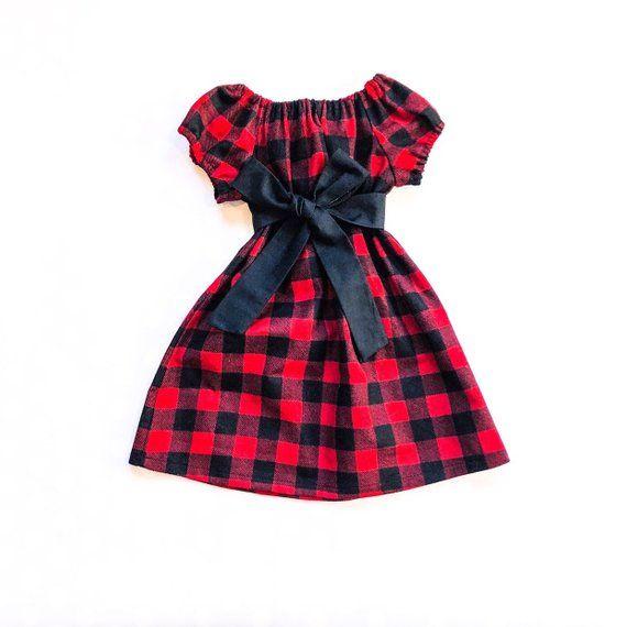 43774b5f0c10 Girls Buffalo Check Plaid Christmas Dress - Girls Fall Dress - Flannel  Christmas Dress