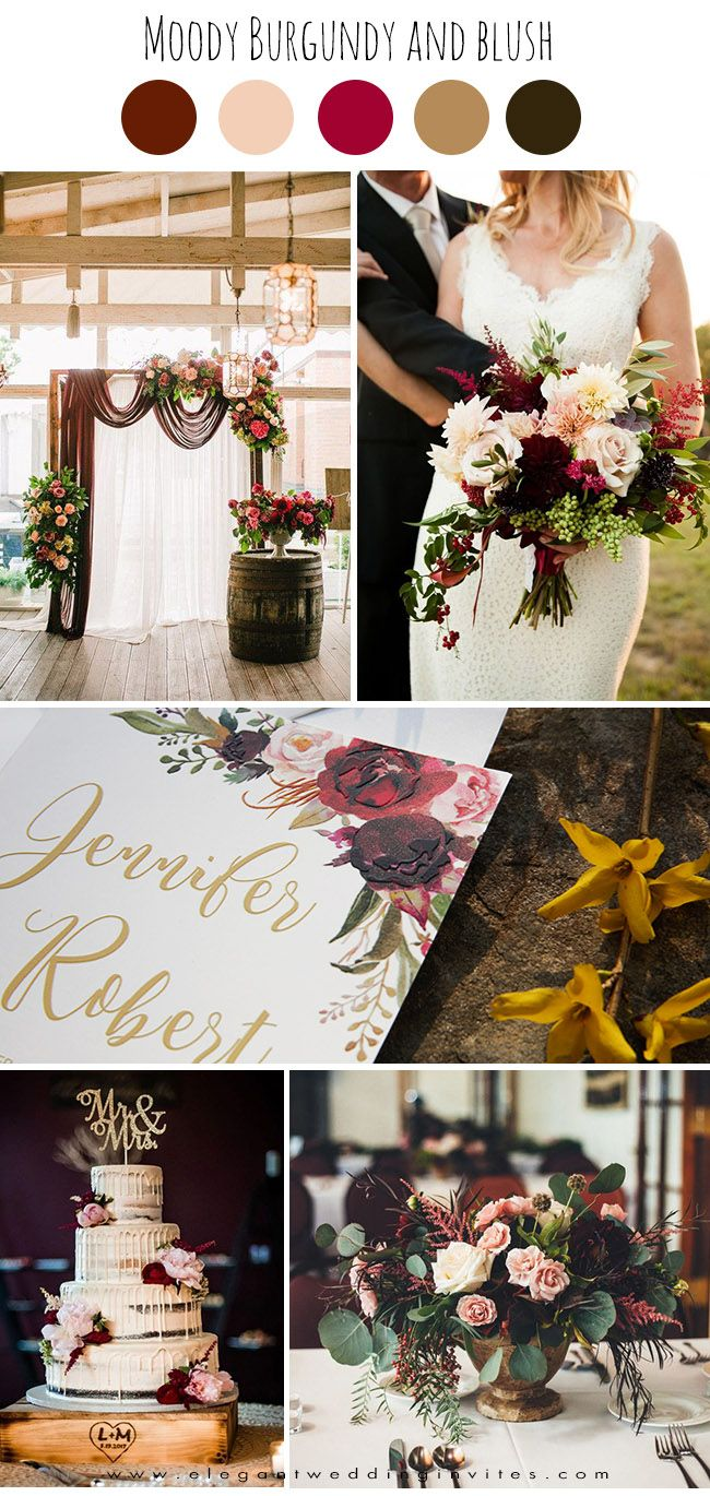 classic moody burgundy and blush old world wedding colors