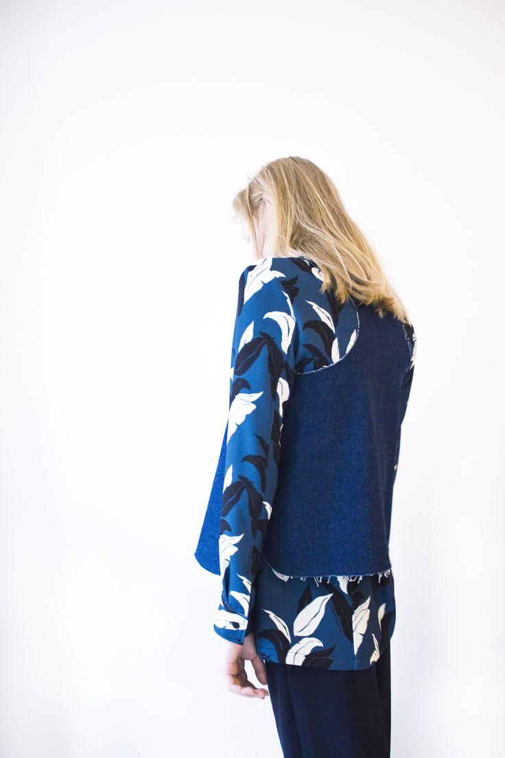 Beate Godager denim top featured in Å journal // Photography : Angela Blumen // Makeup & Hair : Marie Louise Uhrskov Mikkelsen // Stylist : Kama Krystel // Model : Clara Dam  #Press #aapublication #fashioneditorial #fashiondesign