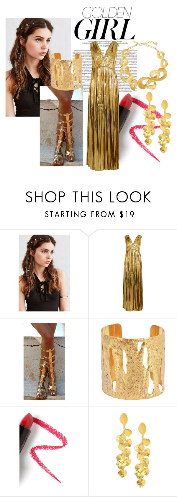 """""""Golden Girl"""" by gi-so ❤ liked on Polyvore featuring Murphy, REGALROSE, Mes Demoiselles..., Ancient Greek Sandals, Sylvia Toledano, Lapcos, Kenneth Jay Lane, Oscar de la Renta, Summer and 40"""