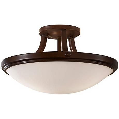 """Feiss Perry Bronze 15 3/4"""" Round Ceiling Light two 100 watt bulbs. 8.5"""" high $143 Get two of these for living room. 7 foot from outer walls. Lights up coffee table and bridge table."""