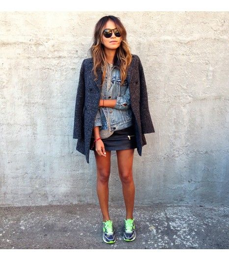 Sincerely Jules wearing a faded denim jacket with a tweed blazer layered over the top + sneakers #StreetStyle