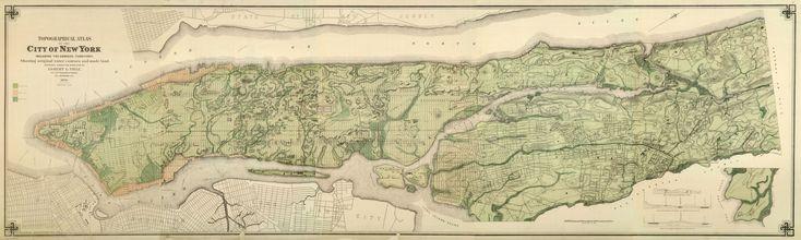 Carte topographique de Manhattan (New York) avant son urbanisation, avec en filigrane le tissu urbain de 1874. On peut y voir les collines et les cours d'eau avant le comblement et l'aplanissement du paysage