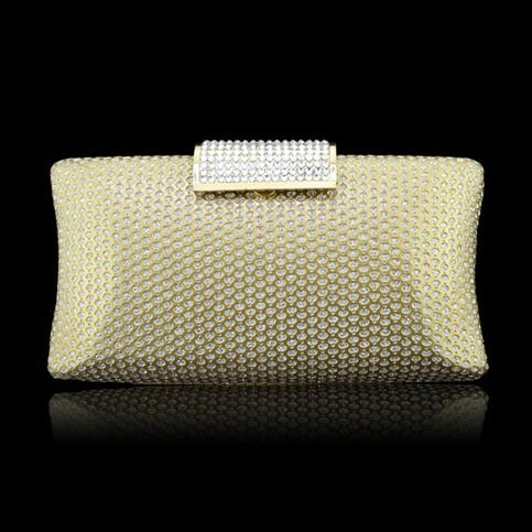 High-grade evening clutch,diamond is shining,the closure type is special.gold make it luxurious  Details: Main Material : PU                                       Color : Gold Weight : About 380g Length : 19cm(7.48'') Height : 7cm(2.75'') Width : 4.5cm(1.77'') Gender : Women Style : Fash...