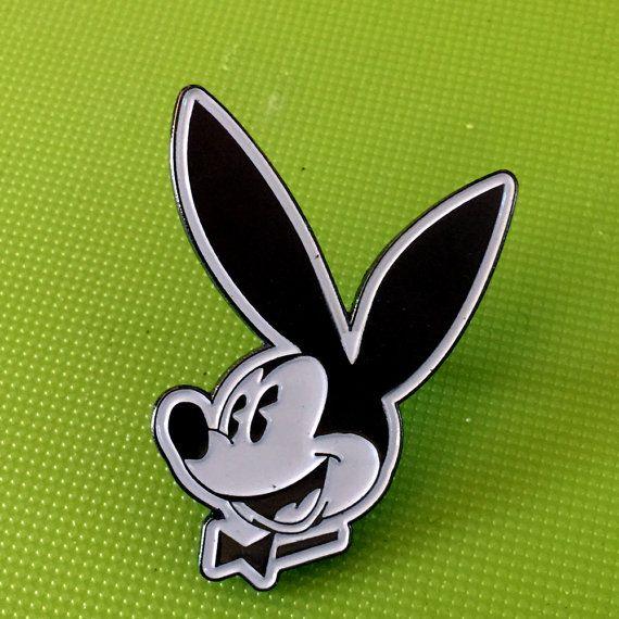 Mickey Mouse Playboy mash up disney parody Bruised Tongue Pin Metal Enamel Pin Badge Button
