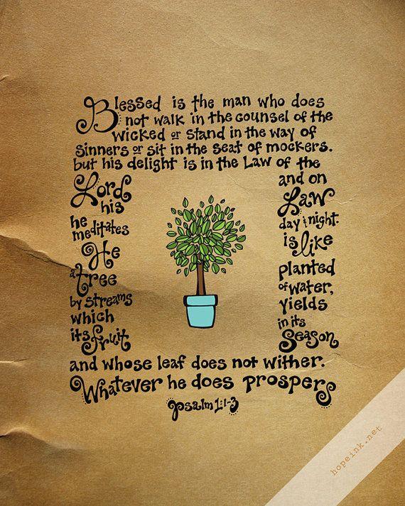 Scripture Art Print Like A Tree Psalm 1 Hand Lettered door hopeink, $24.00