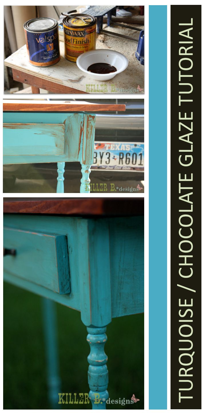 How To Paint Furniture | Distressed Turquoise with Chocolate Glaze | Ana White - Homemaker
