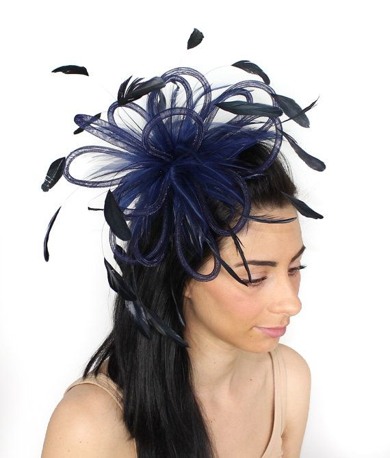 Navy Fluffy Crin Fascinator Hat for Kentucky Derby, Weddings and Christmas Parties on a Headband(in 20 colours)