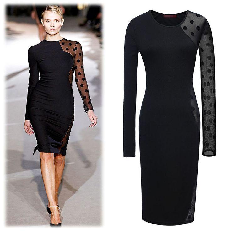 Women long sleeve lace Mesh patchwork knee-length pencil dress plus size women dresses new fashion 2014 club wear sexy dress $23.49