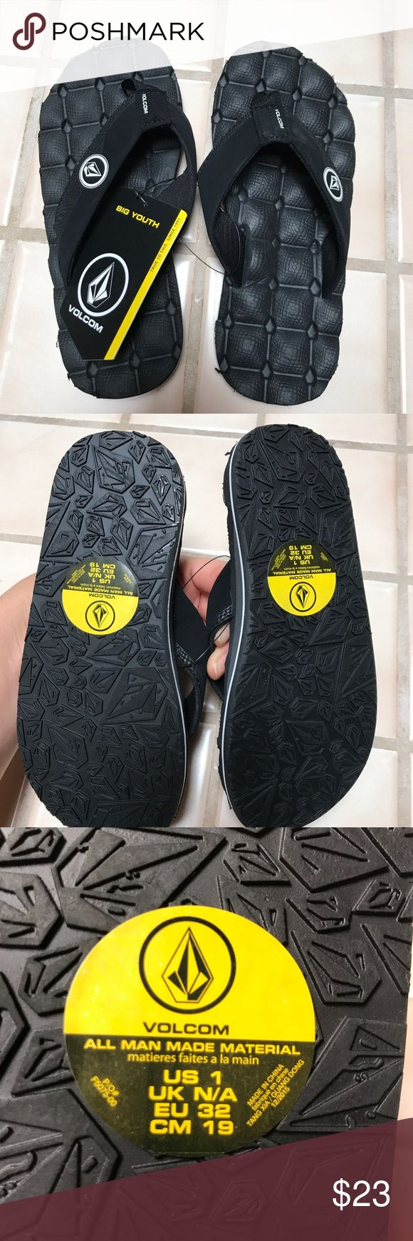 Volcom boy flip flops New black Volcom sandals Volcom Shoes Sandals & Flip Flops
