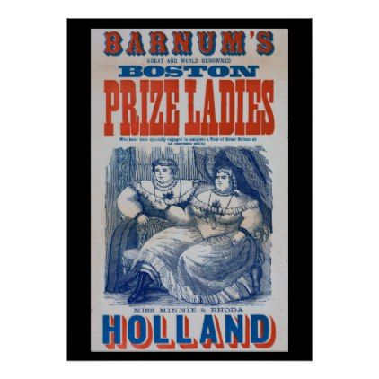 Circus Fat Ladies Side Show Boston Poster  $55.70  by RarePosters  - cyo customize personalize unique diy idea