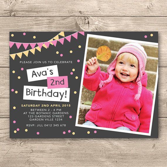Personalised Girls 2nd Birthday Printable by InkandCardDesigns