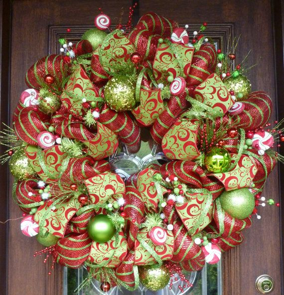 Red White And Green Deco Mesh Christmas Wreath With By