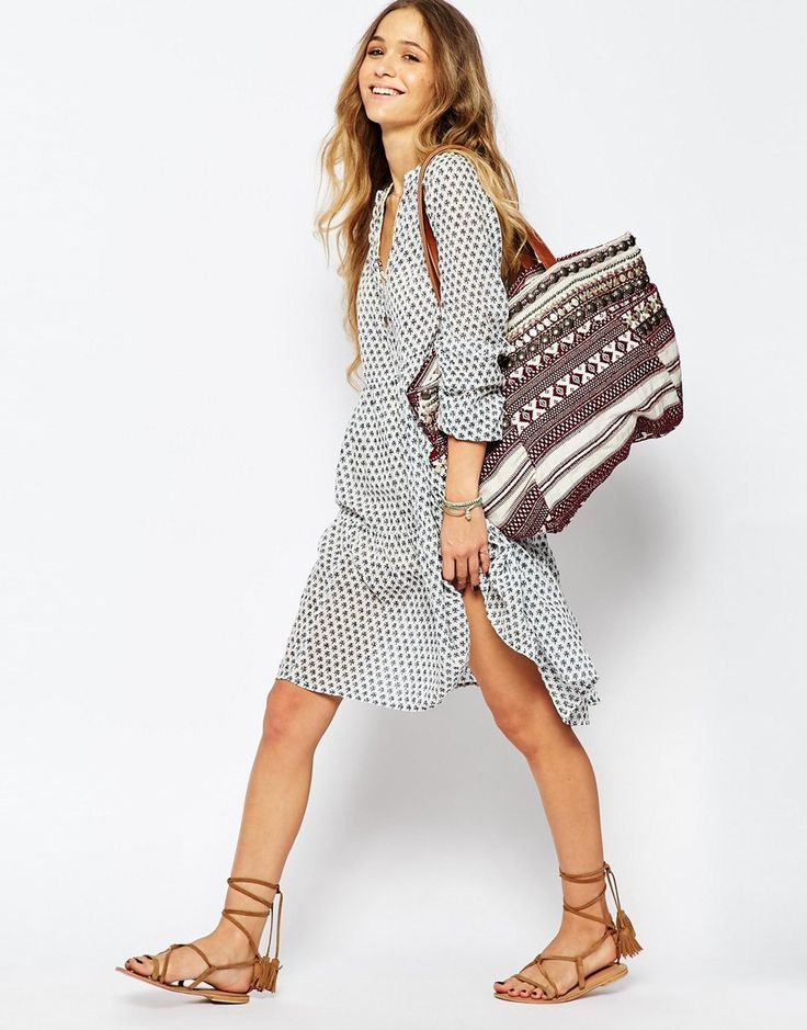 Image 4 of Maison Scotch Smock Dress in Tile Print