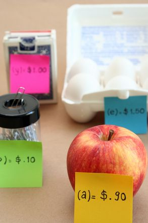 Using items around your house, create a âstoreâ and set up expressions to represent the cost of the items.