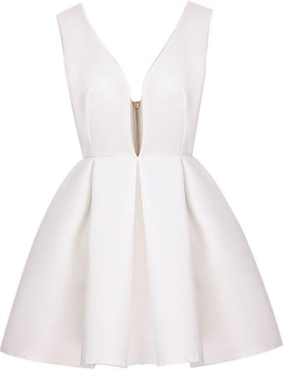 White V Neck Backless Midriff Heart Flare Zippered Dress -SheIn(Sheinside) Mobile Site