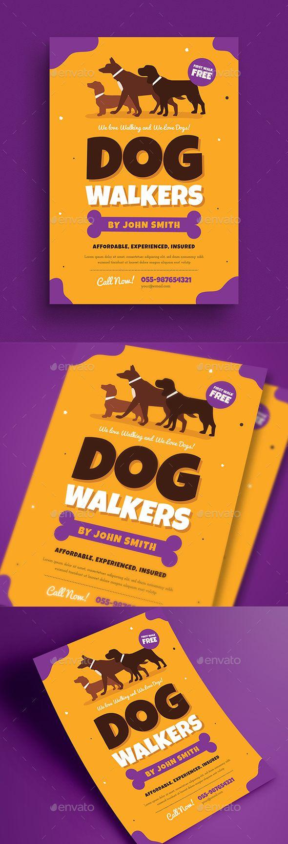 Dog Walkers Flyer Template PSD, AI Illustrator