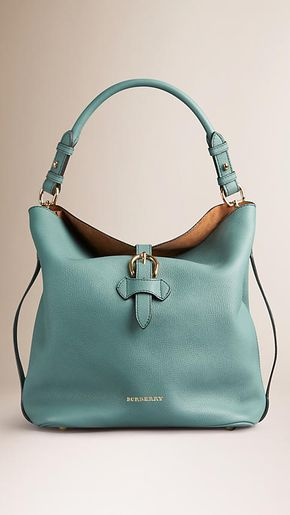 Smokey green Medium Buckle Detail Leather Hobo Bag - BURBERRY