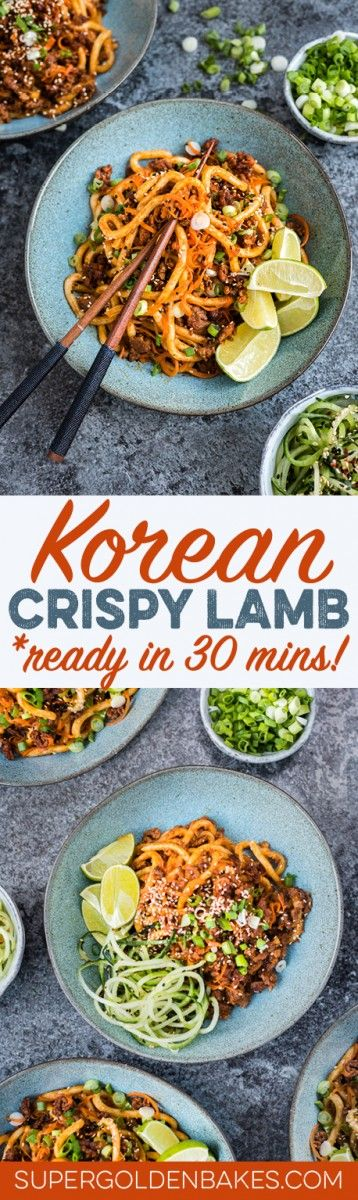 Spicy Korean crispy lamb with udon noodles and spiralized carrots – ready in 30 minutes!