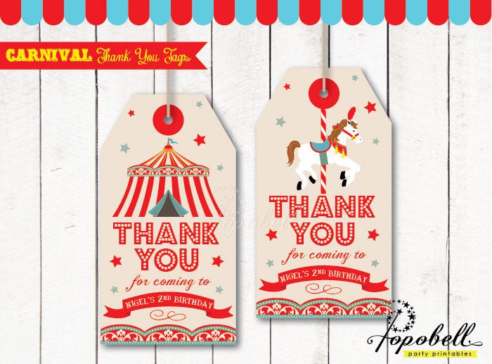 Carnival Thank You Tags for Carnival Birthday. DIY Circus Party Printables in 2 designs! Personalized Circus Favor Tags for Circus Birthday by Popobell on Etsy https://www.etsy.com/listing/208571101/carnival-thank-you-tags-for-carnival