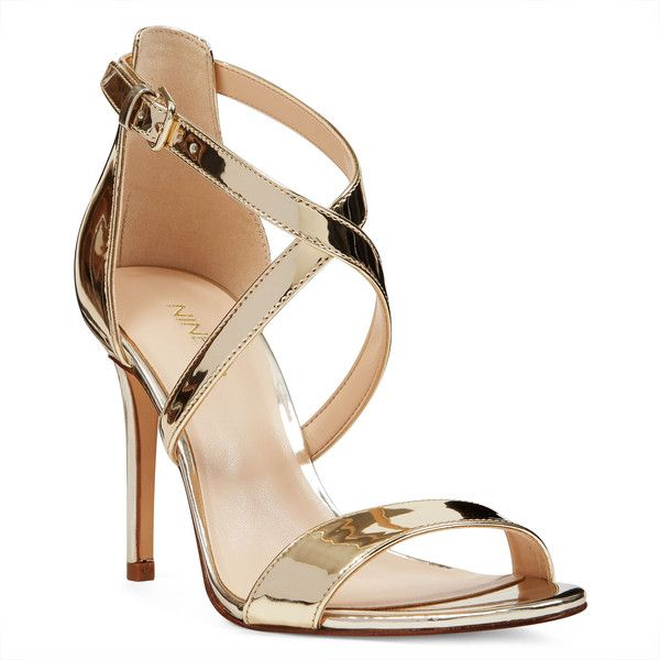 Nine West Mydebut Sandals ($89) ❤ liked on Polyvore featuring shoes, sandals, metallic, stiletto sandals, stiletto heel sandals, heels stilettos, stiletto shoes and polish shoes