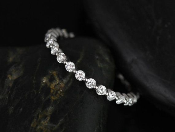 Petite Bubble & Breathe Platinum Diamond ALMOST Eternity Band (Other Metals and Stone Options Available)