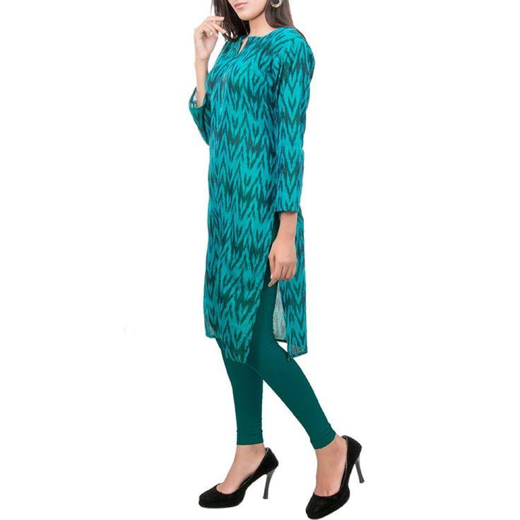 Peacock Blue Ikat Kurti