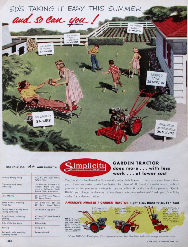 1953 Simplicity Garden Tractor - Roto Tiller - Lawn Croquet - 1950s Family - Children Playing - Lawn Care Ads - Midcentury America by RetroReveries on Etsy https://www.etsy.com/listing/234820820/1953-simplicity-garden-tractor-roto