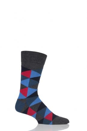 """""""Colourful, comfortable and cotton rich these men's SockShop Colour Burst Argyle Cotton Socks might be, but they are also quite contemporary in design. Their stretched triangle and diamond motifs might suggest the classic pattern of Argyle, but it has been abstracted quite a bit by our designers to give it a fresh, new look. What they do have in common with classic socks is that our SockShop Colour Burst Argyle Cotton Socks are quality constructed, with hand linked toes for smooth seams…"""