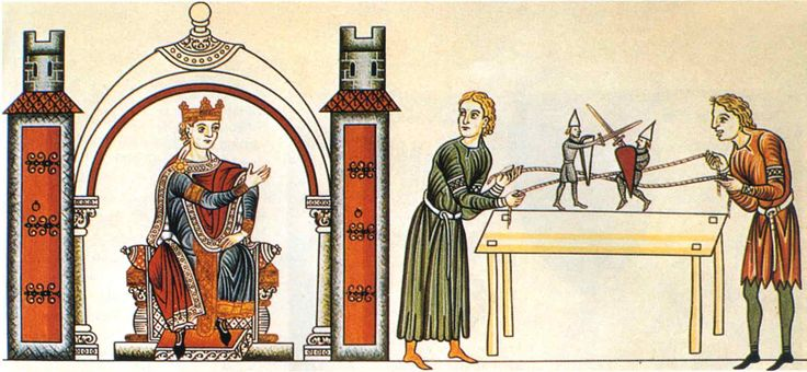 Fighting knight puppets, from the Hortus deliciarum (Garden of Delights) by Herrad, late 12th century.