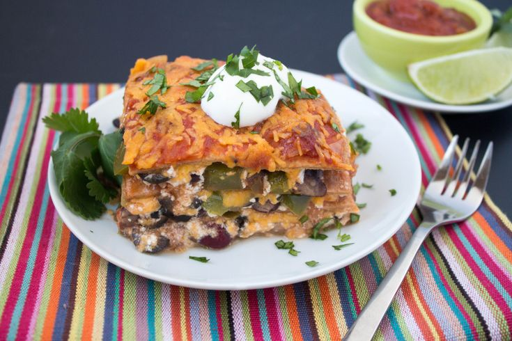 Mexican Lasagna uses Greek yogurt for a healthy topping