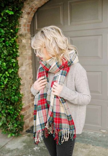9cc011e60c43f Another chilly day, breaking out all my favorite plaid scarves and cozy  sweaters! GET THIS LOOK by clicking the link in my Instagram bio NOW!    # ShopStyle ...