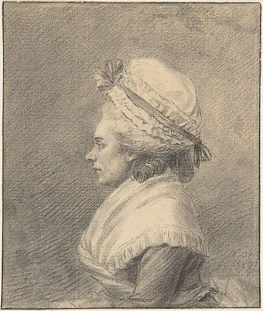 "Profile of a Lady in a Bonnet  Augustin de Saint-Aubin  (French, Paris 1736–1807 Paris). Metropolitan Museum of Art, 59.23.72. Should be ""Cap"""