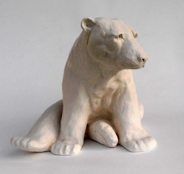 Marble resin Wild Animals and Wild Life sculpture by artist Christine Close titled: 'Pole Taxed (Cold Cast marble resin Waking Polar Bear statues)'
