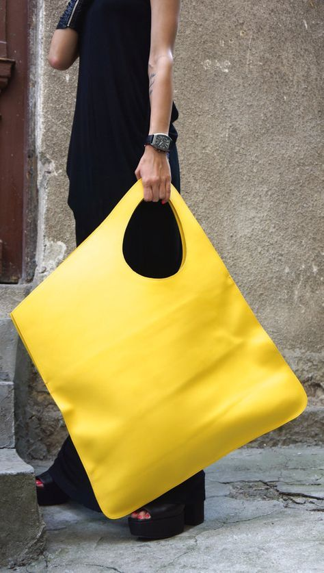 Photo of NEW yellow black genuine leather bag by Aakasha on Etsy