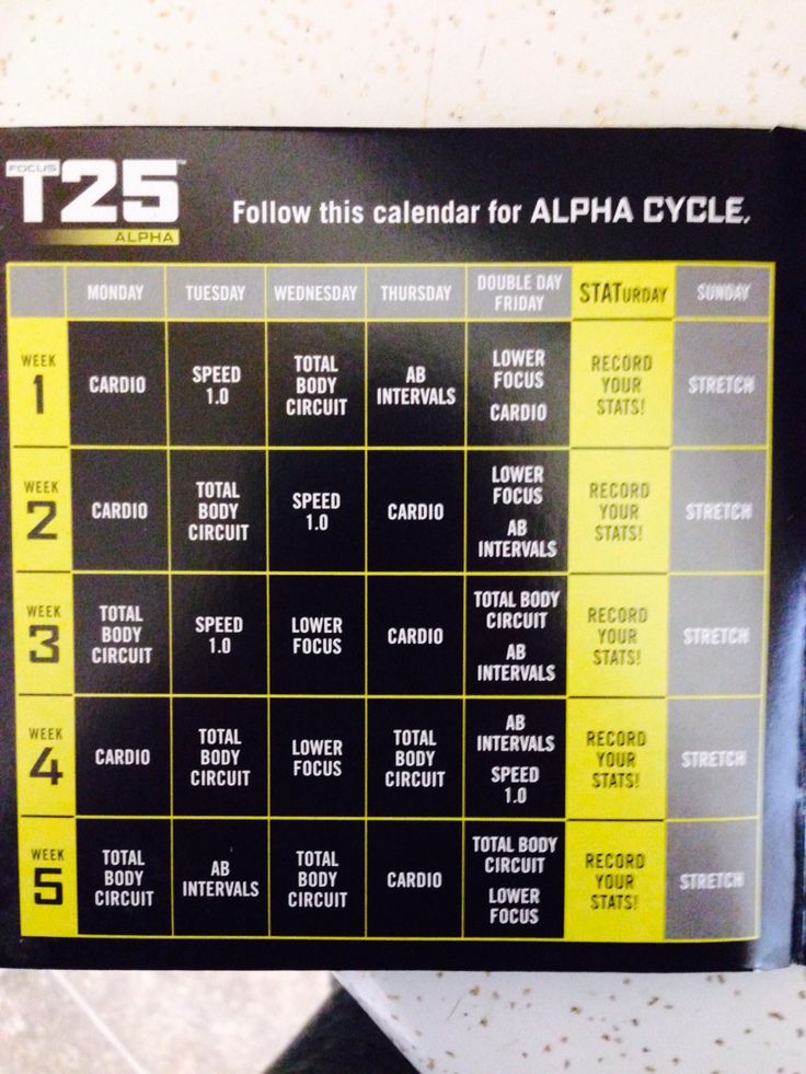 Alpha workout schedule.