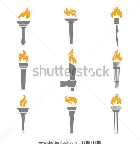 logo torch s | Fire torch victory champion flame icons set isolated vector ...