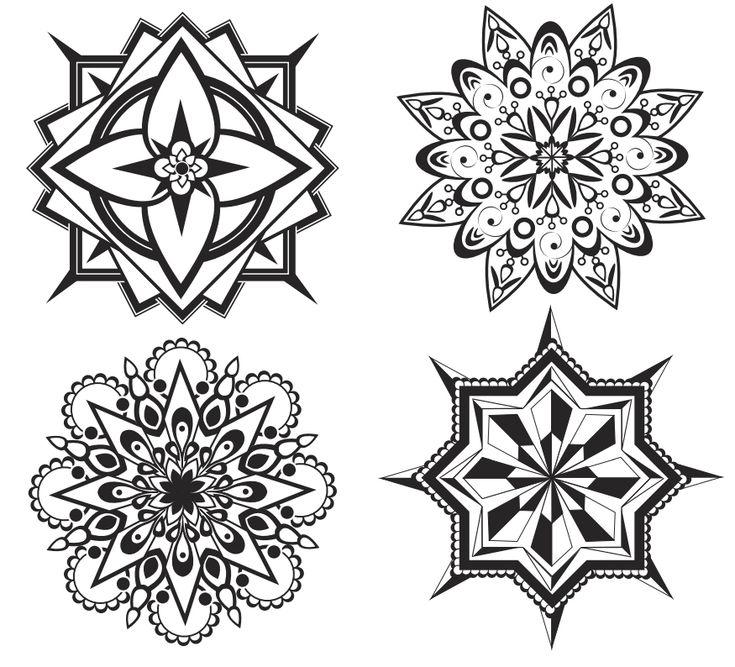 Мандала — рисунки для раскрашивания, вышивки или точечной росписи